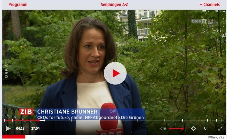 Screenshot: ORF ZIB 2 Beitrag, 29.09.2021, CEOs FOR FUTURE - im Interview: Christiane Brunner (CEOs FOR FUTURE Vorständin) // Screenshot ORFTVThek